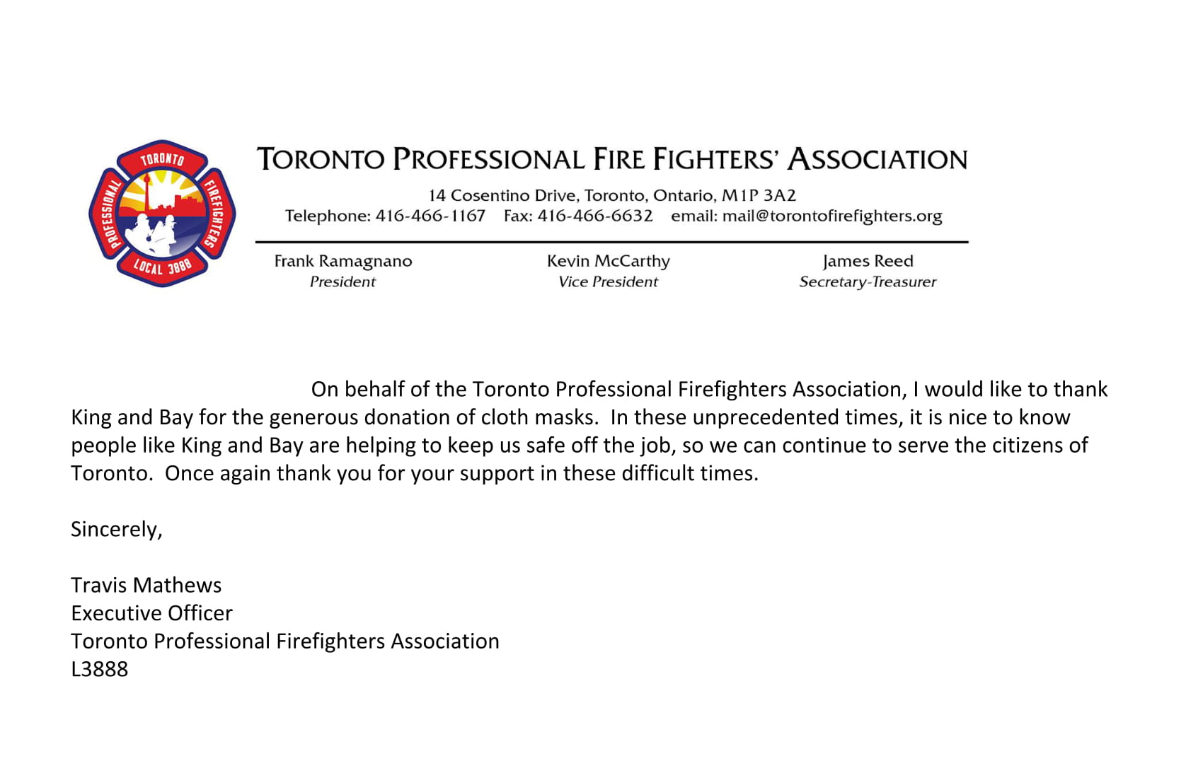 Toronto Professional Fire Fighters' Association thanks King & Bay for Mission2Mask donation