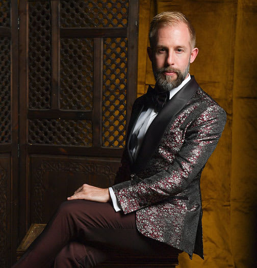 James Temple in a Raw Silk Jacquard Smoking Jacket