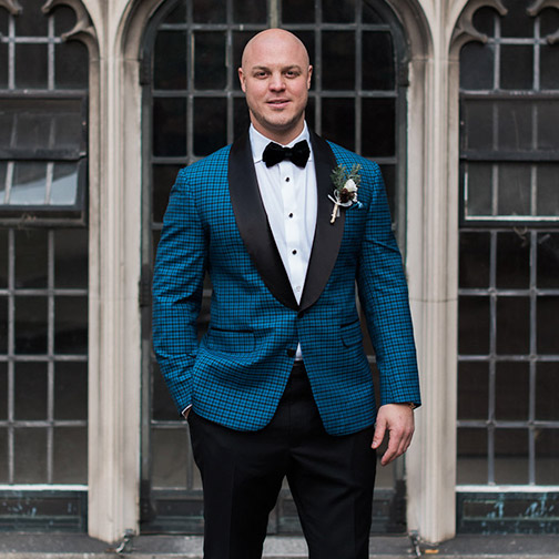 Jason Pottinger in a Custom Wedding Suit from King & Bay