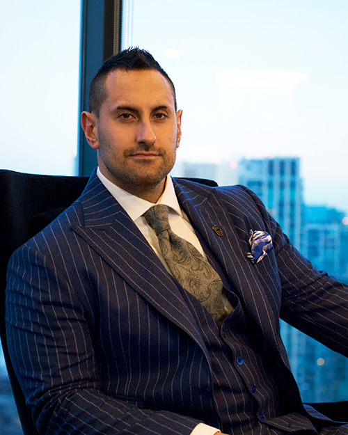 Julian Ricci, Entrepreneur in Custom Pinstripe Suit